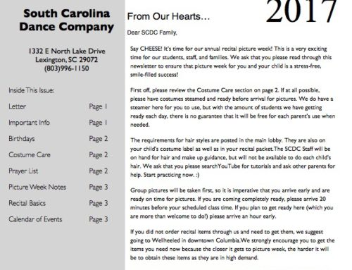 South Carolina Dance Company March Newsletter 2017